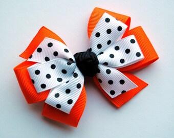 Orange w/Black Polka Dots Layered Halloween Hair Bow