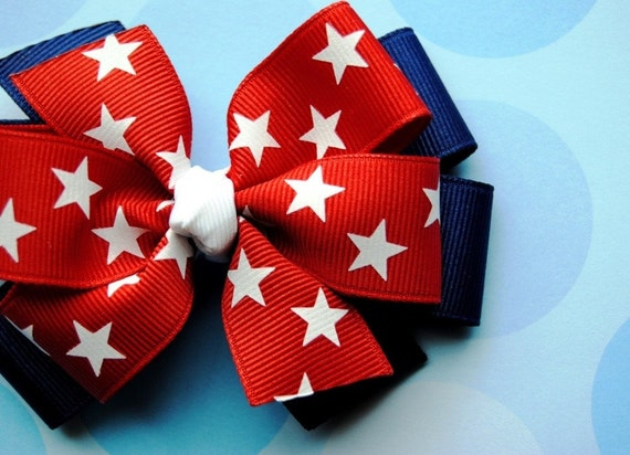 Patriotic Stars Layered 4th of July Hair Bow