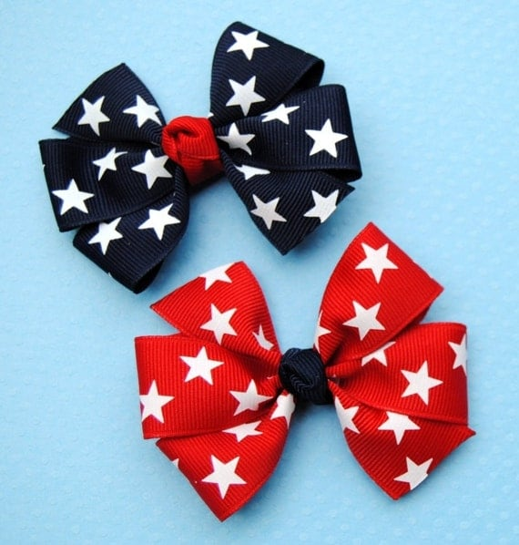 Red & Navy Stars Pigtail Bows