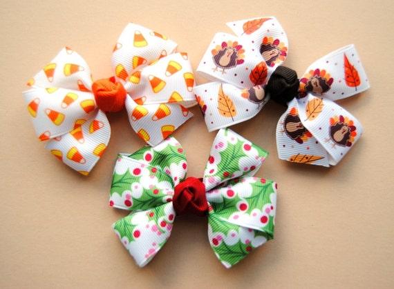 Holiday Hair Bows - Halloween, Thanksgiving, & Christmas 3-pack of Medium Size Bows