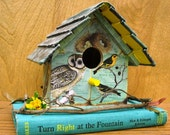 Cute Little Turquoise Bird-Themed Book Birdhouse made with Vintage Books