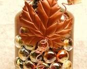 Decorative Embellished Dark Brown and Copper Glass Bottle Light