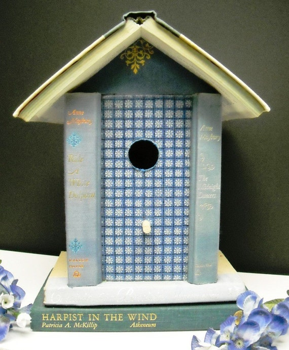 "Denim Blue Book ""Bookshelf"" Birdhouse made from Vintage Altered Books"