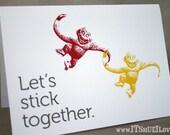 Let's Stick Together - Barrel of Monkeys Card & Envelope