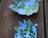 Two Hello Spring oak leaf fabric bowl --Reversible by evLien Designs