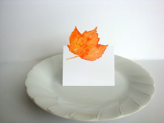 Autumn Orange Maple Leaf - Place Card, Table Number card, Escort cards, weddings events