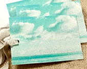 Gift Tags Seaside Aqua Sky Fine Art Photo Vintage Style Printed on Watercolor Paper Set of 3