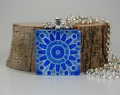 Blue and Silver Gear Glass Tile Pendant