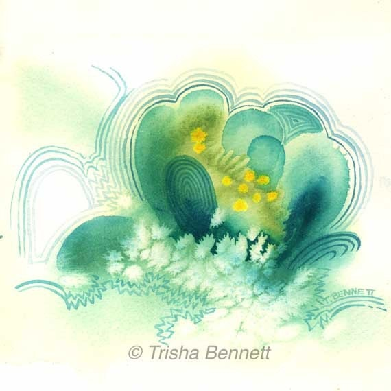 Snow Flower Watercolor Imaginary Painting Print