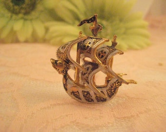 Vintage Wonderful Damascene Jewelry Ornate Ship