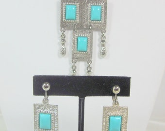 "Vintage Sarah Coventry ""FOLKLORE"" Necklace and Earrings Set Turquoise and Silver"