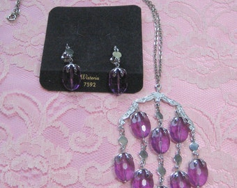 "SALE Vintage Sarah Coventry ""Wisteria"" Necklace and Earrings"
