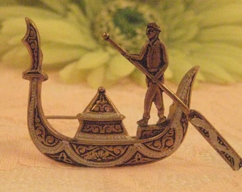 Vintage Spain Signed Damascene Jewelry Gondola Boat Pin