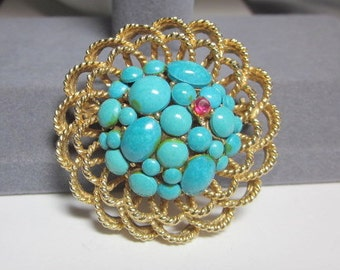 SALE Vintage CAPRI faux Turquoise Gold tone Brooch -Pin - See the little Red Rose on the faux Turquoise
