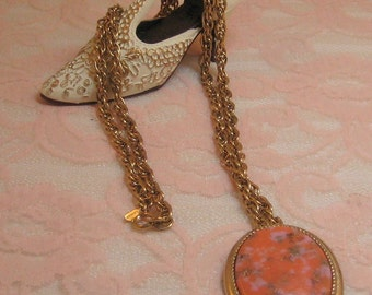 "Sarah Coventry Vintage 1960's Coral Glass Necklace Brooch Pendant ""Coraline"""