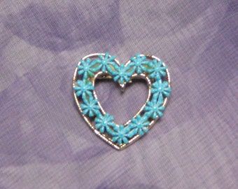 Valentine  Blue Enamel flower and Gold Tone Open Filigree Heart Pin