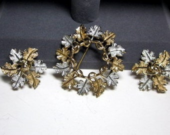 """Vintage Sarah Coventry """"Garland"""" From Aug. 1968 Earrings and Brooch- Pin"""