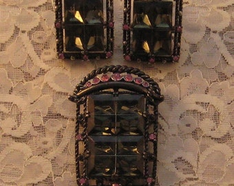 """SALE Vintage Sarah Coventry's  """"MIDNIGHT MAGIC"""" From August 1957 Brooch, Pendant and Earrings"""
