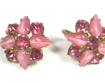 Vintage Pink Rhinestone Givre Glass Screw Back Earrings - Pink Rhinestones -Signed Czechoslovakia