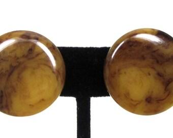 Vintage Clip-On Earrings, Mississippi Mud Bakelite Earrings,  Mississippi Mud Marbled Dome Earrings