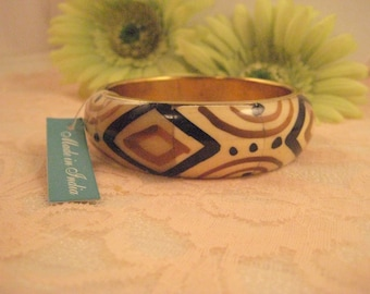Brass and Carved Bone Bangle Made in India