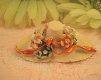 """Rare and Collectible """"My Fair Lady""""  Enamel and Rhinestone Hat Brooch"""