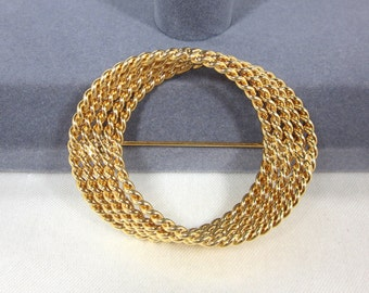 Vintage MONET Gold Tone Circle Brooch with Textured Gold Bead Metal
