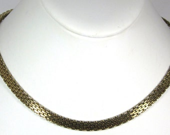 Vintage Chain Necklace Signed Monet Choker, Wide Chain