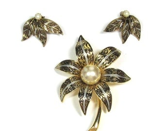 Vintage Damascene Brooch and Earrings, Ornate Flower with Faux Pearl and matching Earrings