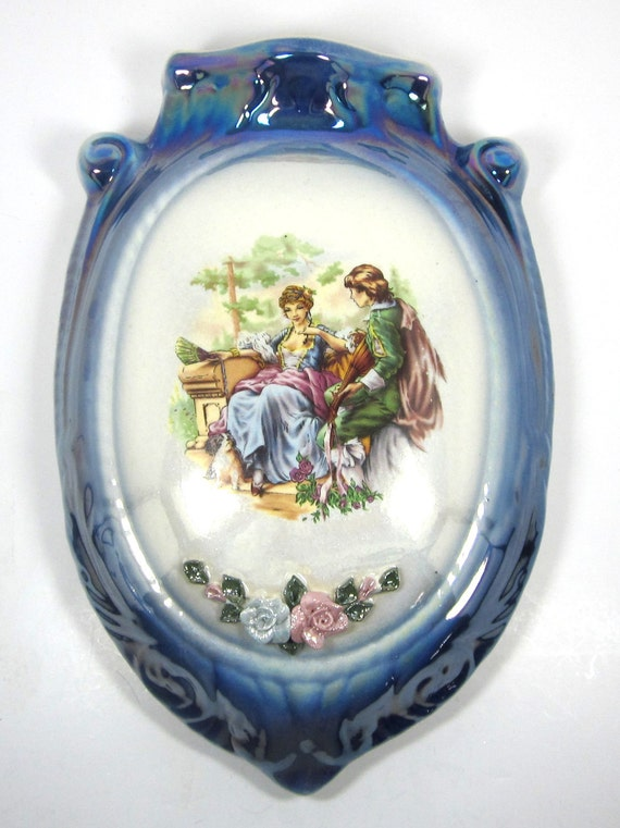 Vintage Hand Painted Victorian Wall Pocket