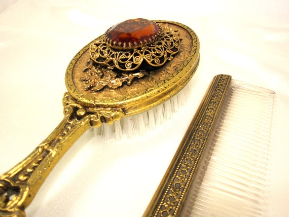 Rare Vintage French Brush and Comb Set, Smoky Topaz Faceted Glass Gem, Gold Tone Brass French Filigree Brush