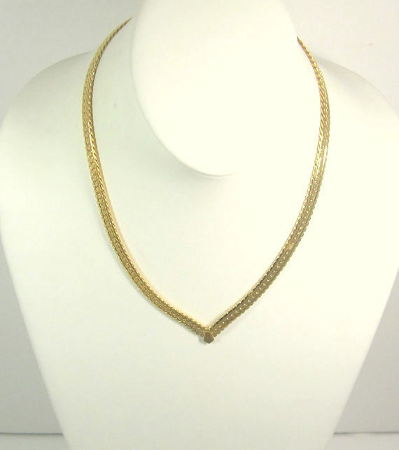 Vintage V Style Chain Necklace and Bracelet,  Napier Signed, Gold Plated Herringbone
