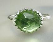 Rose Cut Peridot Gemstone Ring in Size 5.5