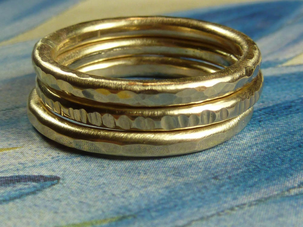 heavy gold stacking rings by deafcatstudios on etsy