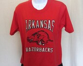 80s ARKANSAS RAZORBACKS ATHLETIC T-Shirt Women