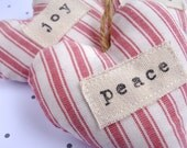 Set of 3 heart Christmas decorations - red and cream stripe ticking