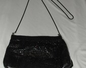 Reserved Vintage 1980's Black Metalic Gold Accents Evening Out Bag Handbag Purse Over the Shoulder Handbag