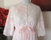 "Vintage ""Eyeful by the Flaums"" Sheer Vintage Pink Chiffon and Lace Peignoir Robe"