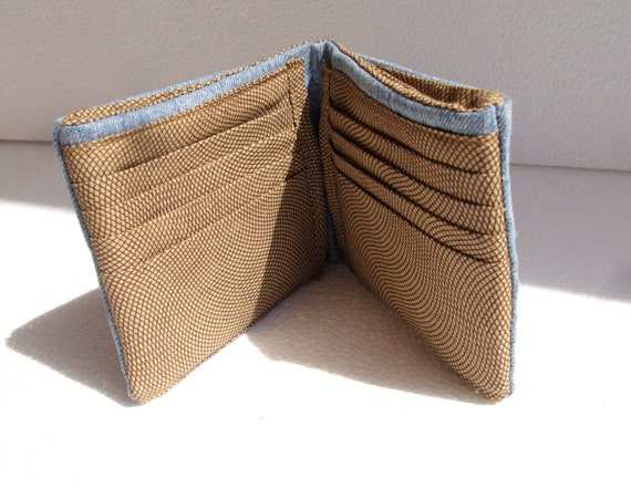 Men wallet recycled from jean in sky blue and brown