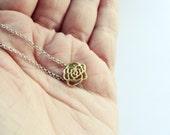 Gold Rose necklace - Rose Miniature Handcut Necklace - Small rose necklace -  Blooming Rose Cutout Necklace