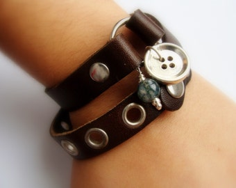Mens Double wrap brown leather cuff - Metalwork sterling silver button bracelet - unisex adjustable jewelry - Leather silver bracelet