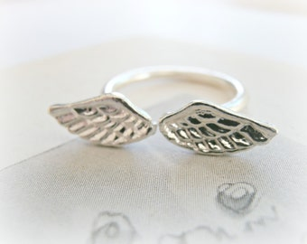 Wing Ring Sterling Silver - Angel Wing Ring - Angel Wing Jewelry - Best Friends Ring - AdjustableSilver  Angel Wings Ring