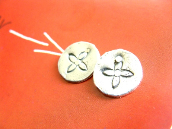 Flower Silver Studs - Recycled Silver Post Studs - Coin Earrings Sterling Silver - Minimal Flower Studs
