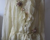 upcycled silk marc jacobs shirt.....ruffles and vintage motif...small