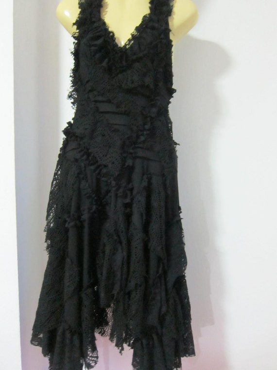 Black Bohemian Style Gothic Dress Ripped Laces And By