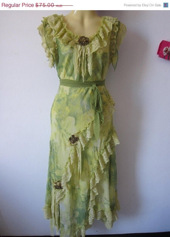 30% OFF HAPPY 2012  SALE gorgeous green hued romantic slip dress....chiffon,lace ,roses and vintage motifs...