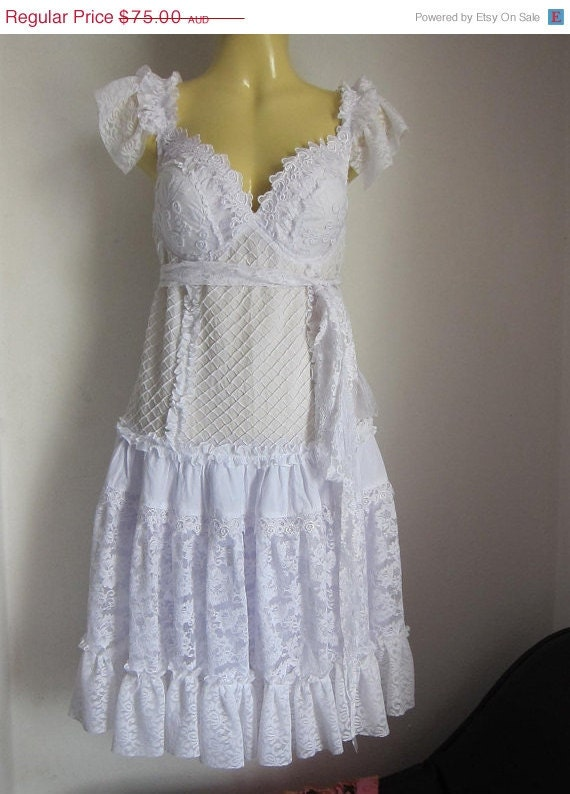 30% OFF HAPPY 2012  SALE white cotton and lace bustier  dress....perfect for a wedding or.....just perfect.....