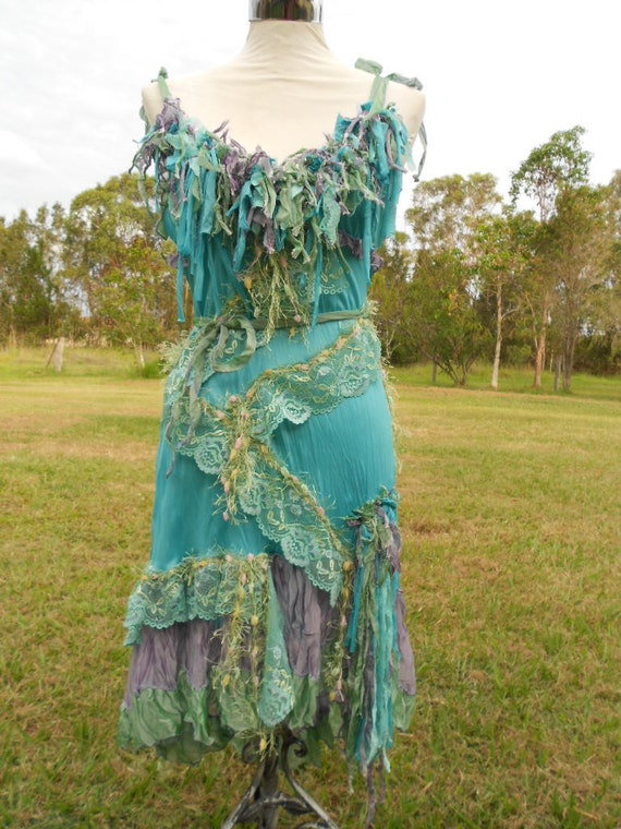 RESERVED...sea coloured shabby bohemian gypsy dress looking for a mermaid...