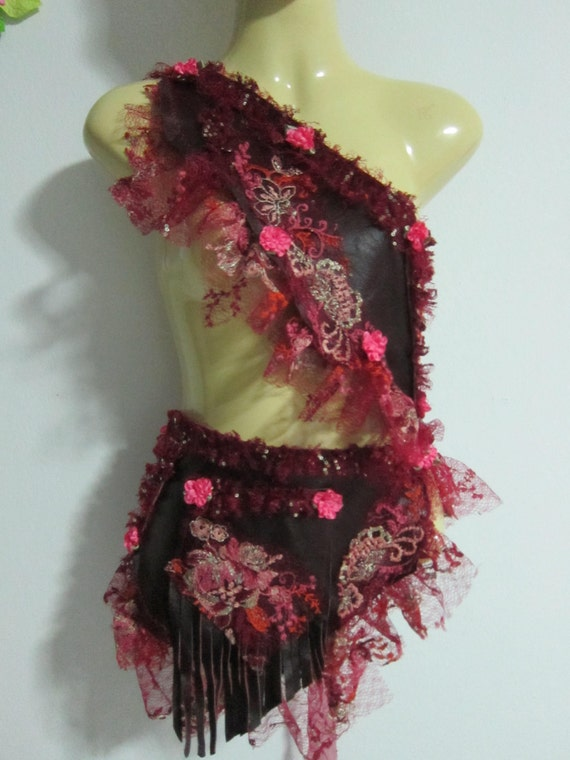 there's gypsy in her soul...deep burgundy leather belt/tutu with lace and pocket...