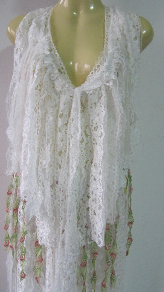 ready to twirl....a vintage inspired shredded lace belly dancing pixie belt/ shawl/tutu...
